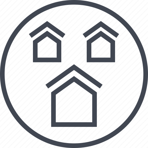 home, house, neighbors, three icon