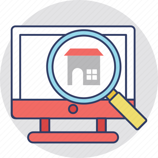 online mortgage, online property purchasing, online property selection, online real estate, online search icon