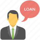 financial advisor, legal advisor, loan advisor, loan consultant, property agent icon