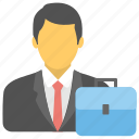 business bag, business portfolio, documents bag, man with bag, portfolio icon