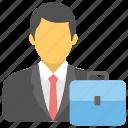business bag, business portfolio, documents bag, man with bag, portfolio icon
