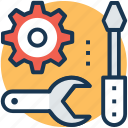garage tools, hand tools, repair, screwdriver, spanner icon