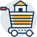 buy home, house for sale, online estate, real estate, shopping cart icon