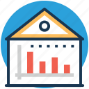 estate graph, graph report, house value, property graph, property value icon