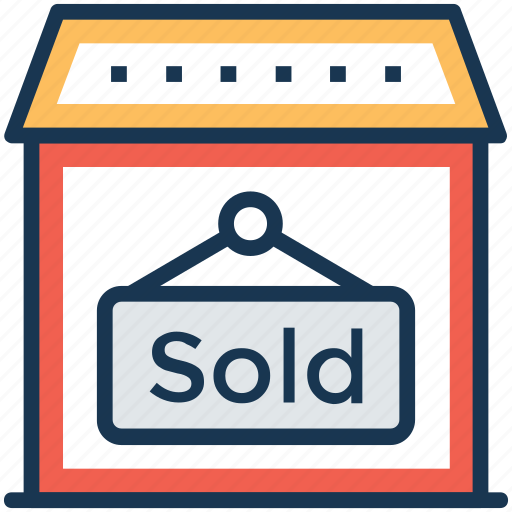 estate signage, house sold, property sold, sold advertisement, sold property icon