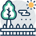 garden, grassy area, landscape, park, spruce tree icon