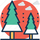cypress trees, fir trees, larch trees, pine trees, trees icon