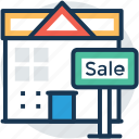 house auction, house for sale, property sale, real estate, sale advertisement icon