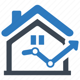 analytics, building, business, growth, house, real estate, statistics icon