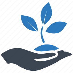 business startup, growth, hand, leaf, plant, project, startup icon