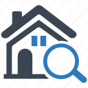 building, find, home, house, property, real estate, search icon