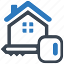 building, home loan, key, lock, property, real estate, safe icon