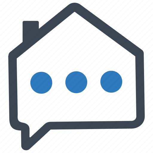 apartment, building, house, message bubble, property, real estate icon