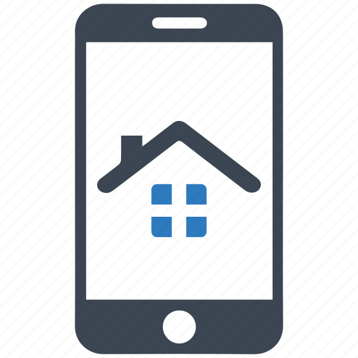home loan, house, mobile, property, real estate, rent, smartphone icon