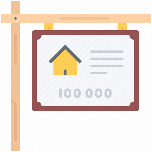 estate, house, info, nameplate, real, realtor, sale icon