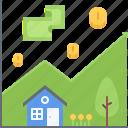 chart, coin, estate, house, money, real, realtor icon