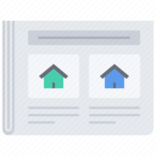 estate, house, news, paper, photo, real, realtor icon