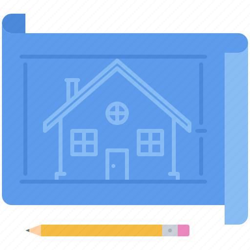 estate, house, pencil, plan, real, realtor icon