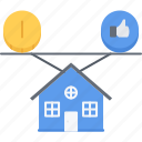 coin, estate, house, price, quality, real, scales icon