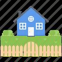 bush, estate, fence, garden, house, real, realtor icon
