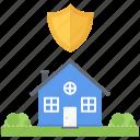bush, estate, garden, house, protection, real, shield icon