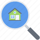 estate, house, magnifier, real, realtor, search icon