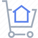 cart, house, shopping, shopping trolley icon