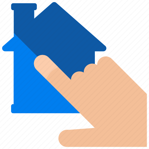 click, estate, gesture, hand, house, real icon