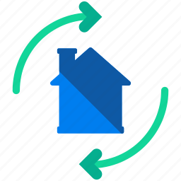 arrows, estate, flipping, home, house, real, rotate icon