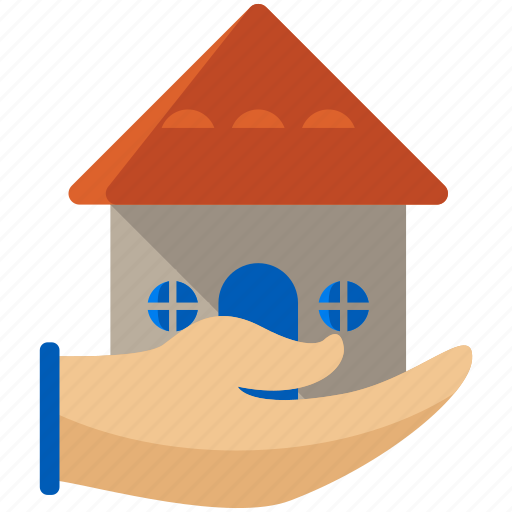 estate, gesture, hand, home, house, real icon