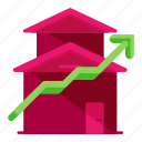 arrow, estate, real, up icon