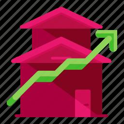 arrow, estate, real, up icon
