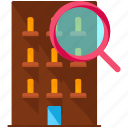 apartment, building, find, search icon
