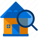 estate, house, magnifier, real, search icon