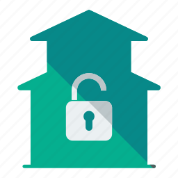 duplex, estate, home, house, real, security, unlock icon