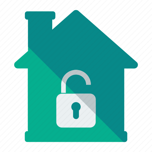 estate, home, house, padlock, real, security, unlock icon