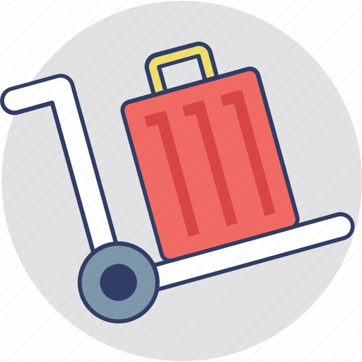 baggage, hand trolley, hand truck, luggage cart, push cart icon