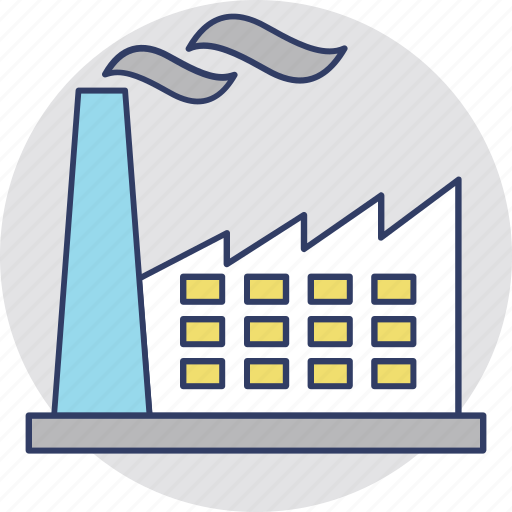 commercial property, factory, industry, mill, power plant icon