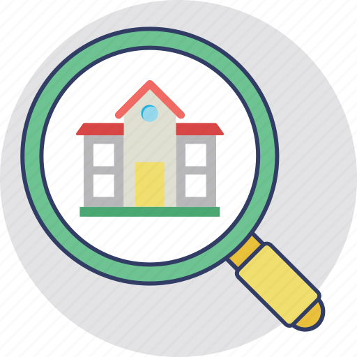house search, house selection, real estate search, relocation, search listing icon