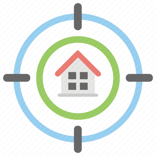 focus on home, home target, property goal, real estate market, real target house icon