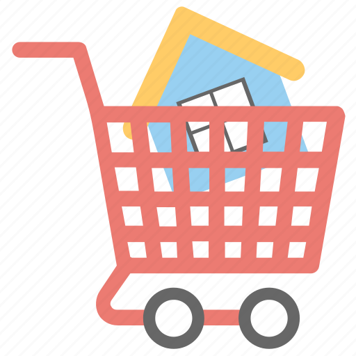 buying homes, house in shopping cart, house shopping, real estate market concept, real estate shopping cart icon