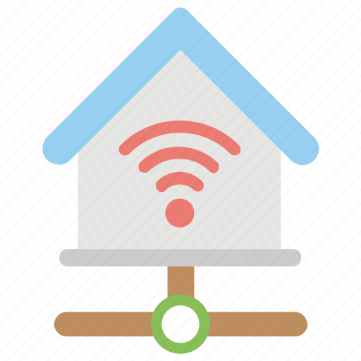 connected home, home wifi, internet, network home, smart home icon