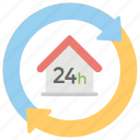 all day, day and night, full service, full time, twenty four hours icon