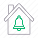 bell, building, home, house, notification icon