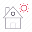 building, home, house, realestate, sun icon
