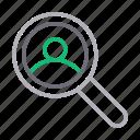 glass, magnifier, profile, search, user