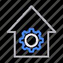 building, cogwheel, gear, realestate, workshop icon