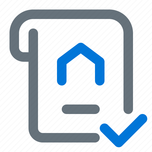 certificate, document, house, verify icon