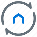 building, cycle, estate, home, real, rotation icon
