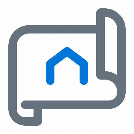 blueprint, building, house, paper, planning icon